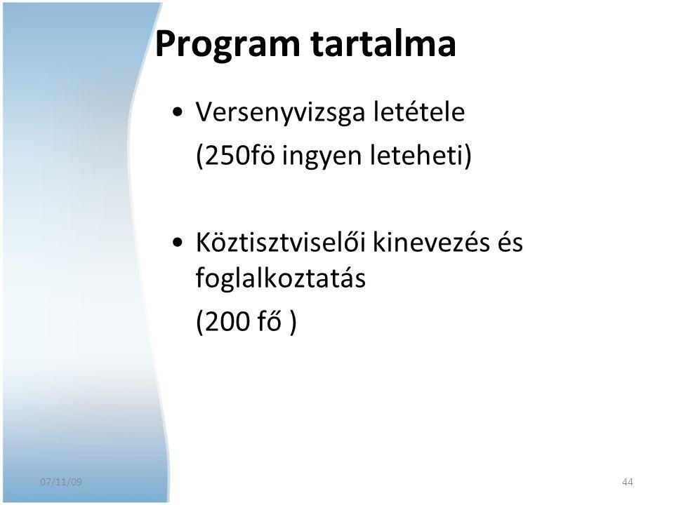 07/11/09 Program tartalma Versenyvizsga letétele (250fö ingyen leteheti) Köztisztviselői kinevezés és foglalkoztatás (200 fő ) 44