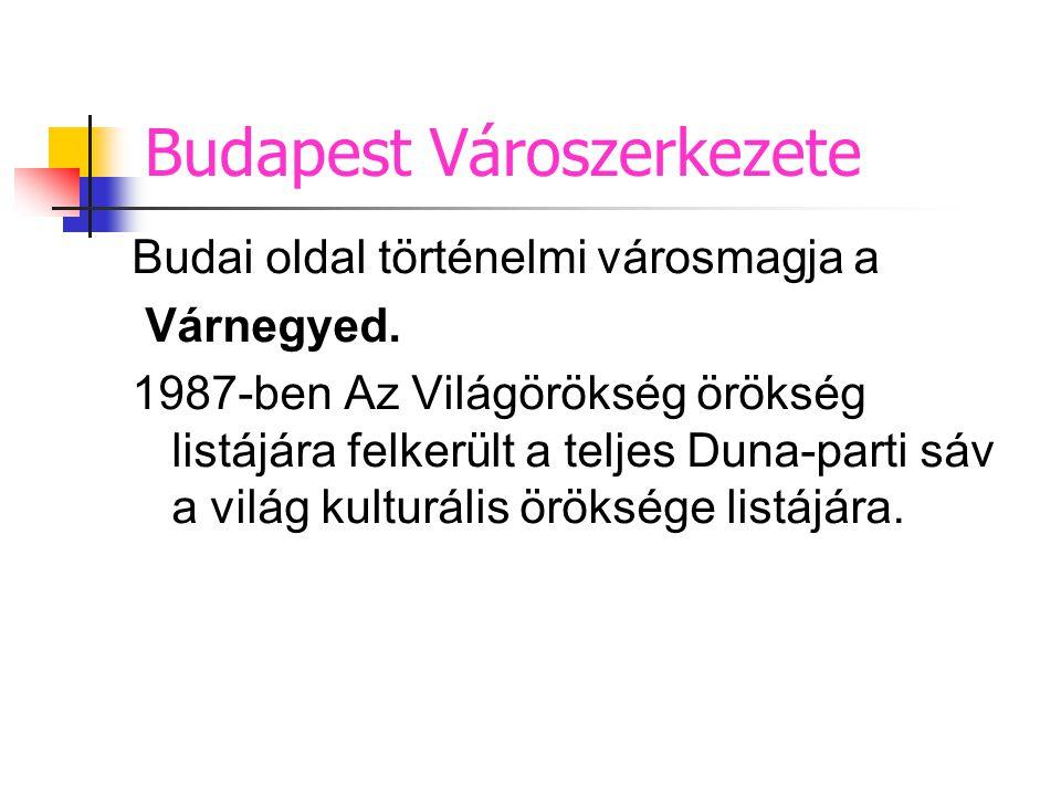 Budai oldal történelmi városmagja a Várnegyed. 1987-ben Az Világörökség örökség listájára felkerült a teljes Duna-parti sáv a világ kulturális örökség