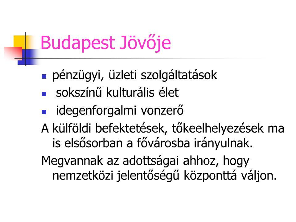 Budapest Jövője pénzügyi, üzleti szolgáltatások sokszínű kulturális élet idegenforgalmi vonzerő A külföldi befektetések, tőkeelhelyezések ma is elsőso