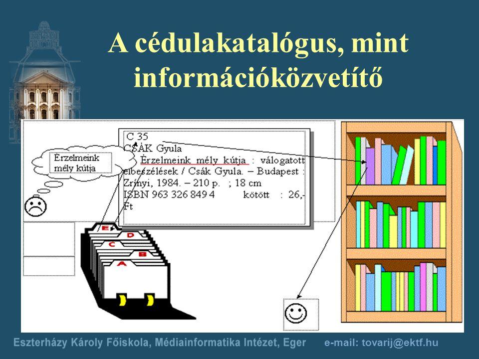 e-mail: tovarij@ektf.hu Kapcsolódó tantárgyak Információkereső nyelvek Tájékoztatás-elmélet Integrált könyvtári rendszerek