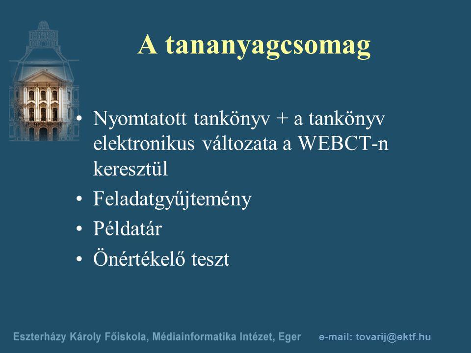 e-mail: tovarij@ektf.hu Az első félév feladata A bibliográfiai tétel középső részének, a bibliográfiai leírásnak az elkészítése. A tétel a második fél