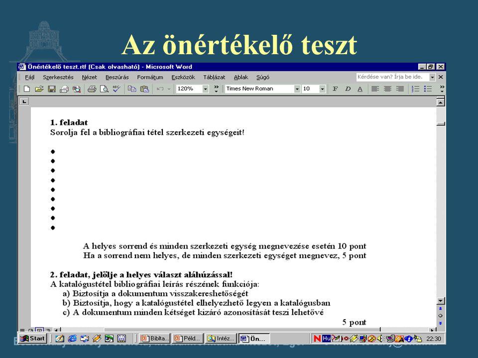 e-mail: tovarij@ektf.hu A feladatgyűjtemény