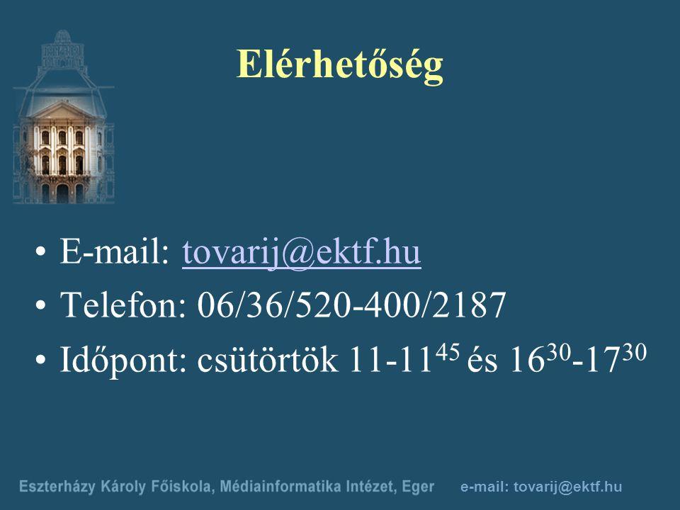 e-mail: tovarij@ektf.hu A számonkérés Önmaga ellenőrzésére szolgálnak: Házi feladat Önellenőrző tesztek Kötelezően beküldendő feladatok Írásbeli vizsg