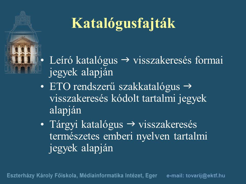e-mail: tovarij@ektf.hu Mindenkor szem előtt tartandó alapelv Az információ nemzetközi, független az ország- és a nyelvi határoktól! Visszakereshetősé