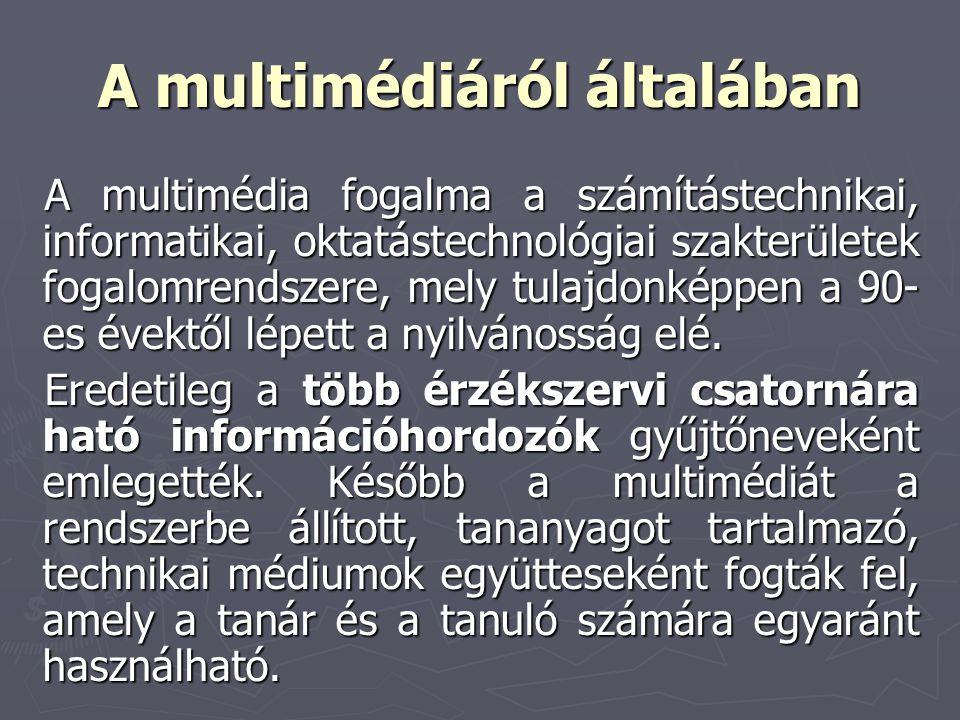 A multimédiáról általában A multimédia fogalma a számítástechnikai, informatikai, oktatástechnológiai szakterületek fogalomrendszere, mely tulajdonkép