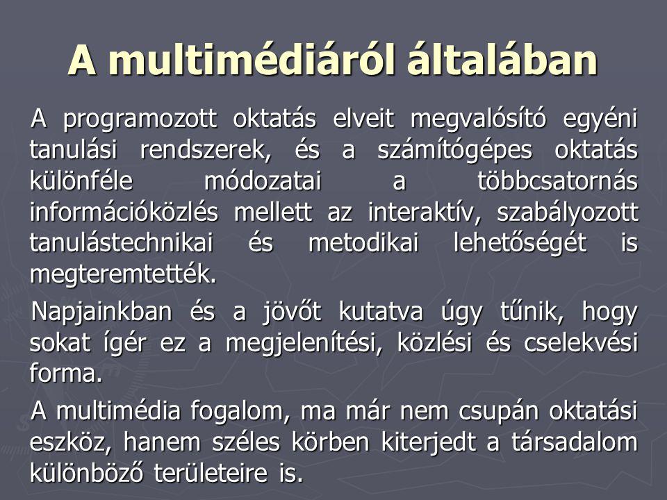A multimédiáról általában A programozott oktatás elveit megvalósító egyéni tanulási rendszerek, és a számítógépes oktatás különféle módozatai a többcs