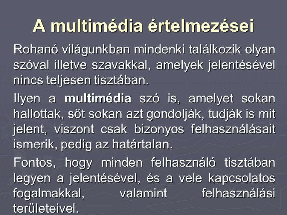 A multimédia értelmezései Rohanó világunkban mindenki találkozik olyan szóval illetve szavakkal, amelyek jelentésével nincs teljesen tisztában. Ilyen