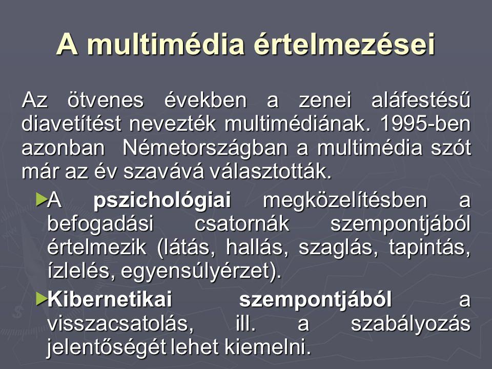 A multimédia értelmezései Az ötvenes években a zenei aláfestésű diavetítést nevezték multimédiának. 1995-ben azonban Németországban a multimédia szót