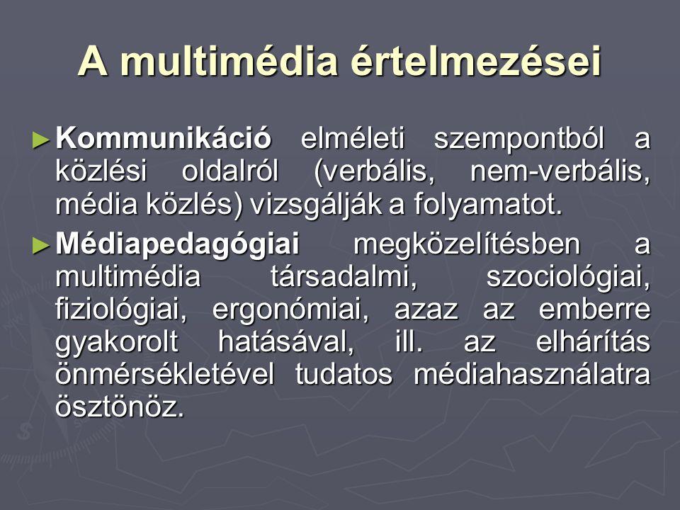 A multimédia értelmezései ► Kommunikáció elméleti szempontból a közlési oldalról (verbális, nem-verbális, média közlés) vizsgálják a folyamatot. ► Méd