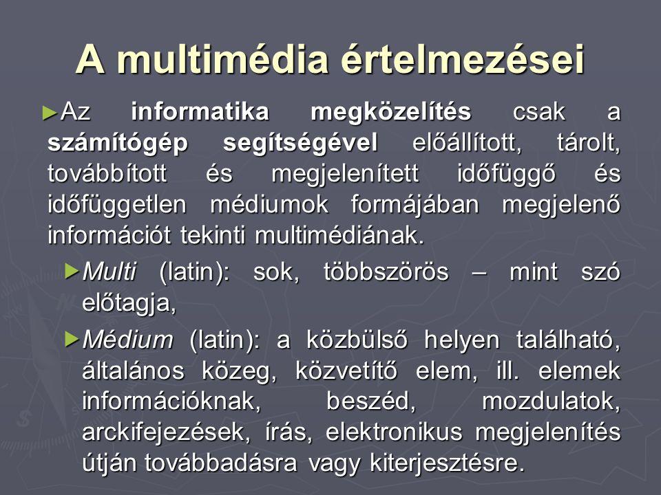 A multimédia értelmezései ► Az informatika megközelítés csak a számítógép segítségével előállított, tárolt, továbbított és megjelenített időfüggő és i
