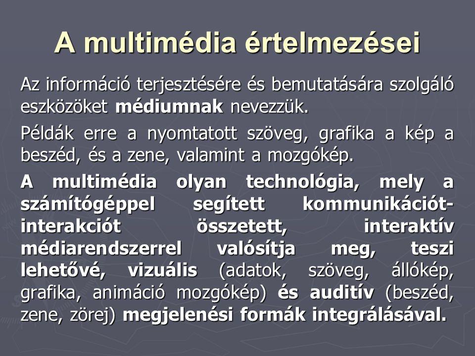 A multimédia értelmezései Az információ terjesztésére és bemutatására szolgáló eszközöket médiumnak nevezzük. Példák erre a nyomtatott szöveg, grafika