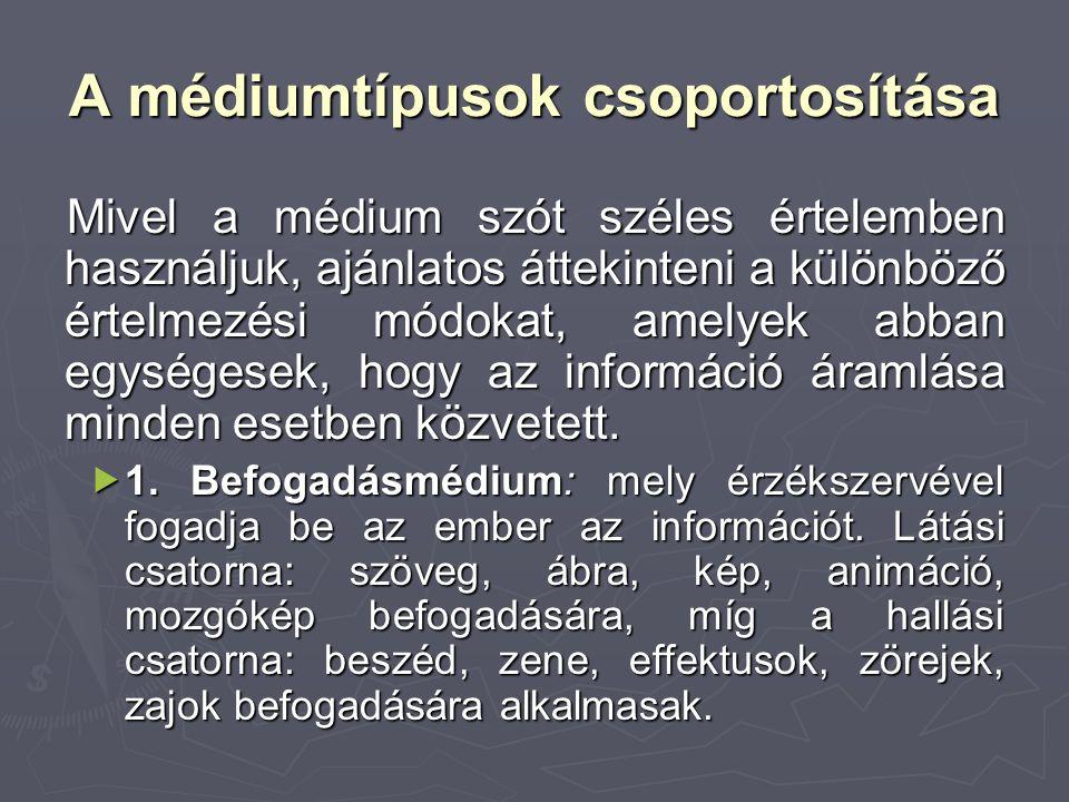 A médiumtípusok csoportosítása Mivel a médium szót széles értelemben használjuk, ajánlatos áttekinteni a különböző értelmezési módokat, amelyek abban