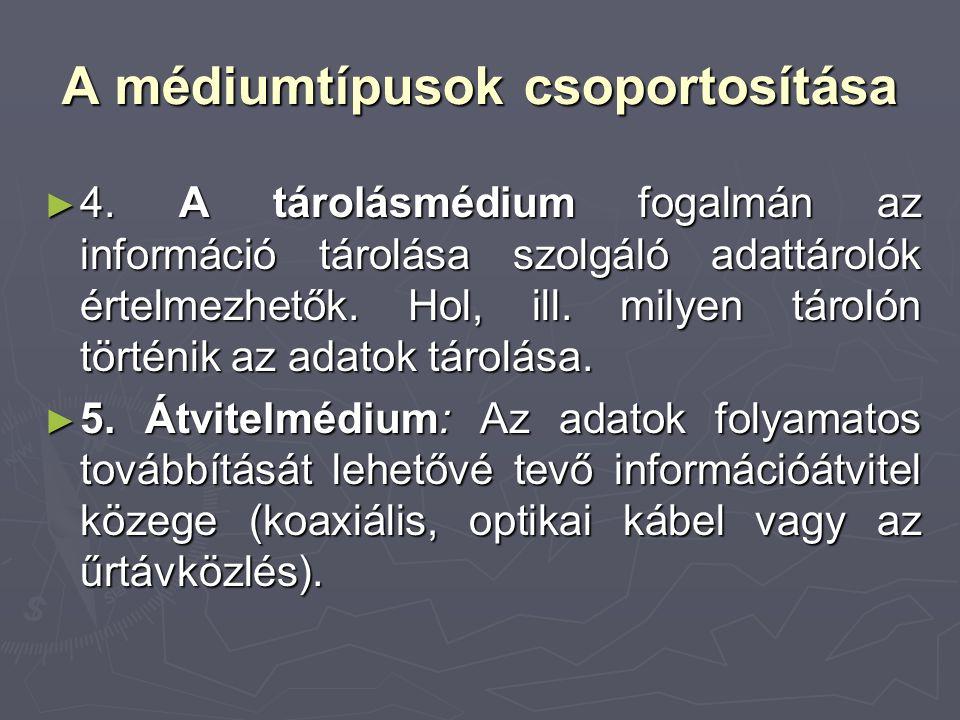 A médiumtípusok csoportosítása ► 4. A tárolásmédium fogalmán az információ tárolása szolgáló adattárolók értelmezhetők. Hol, ill. milyen tárolón törté