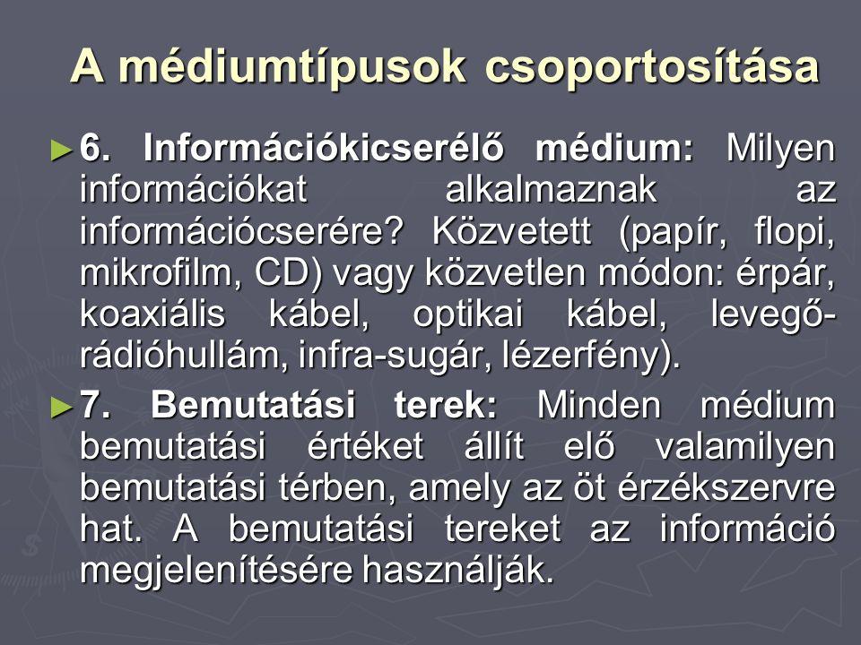 A médiumtípusok csoportosítása ► 6. Információkicserélő médium: Milyen információkat alkalmaznak az információcserére? Közvetett (papír, flopi, mikrof