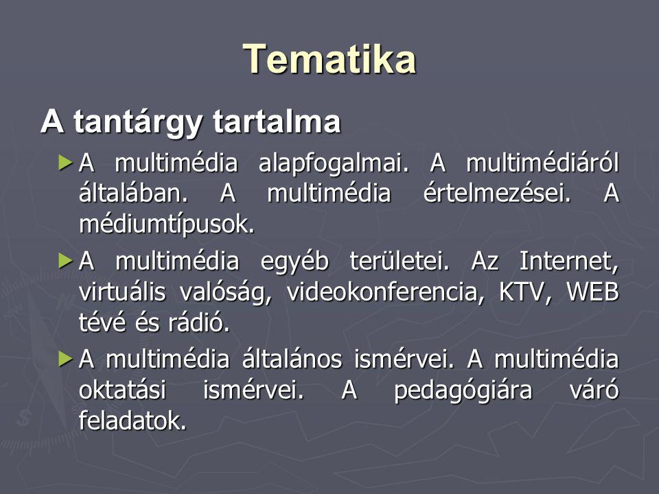 Tematika A tantárgy tartalma  A multimédia alapfogalmai. A multimédiáról általában. A multimédia értelmezései. A médiumtípusok.  A multimédia egyéb