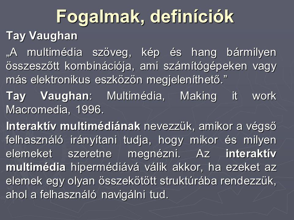 """Fogalmak, definíciók Tay Vaughan """"A multimédia szöveg, kép és hang bármilyen összeszőtt kombinációja, ami számítógépeken vagy más elektronikus eszközö"""