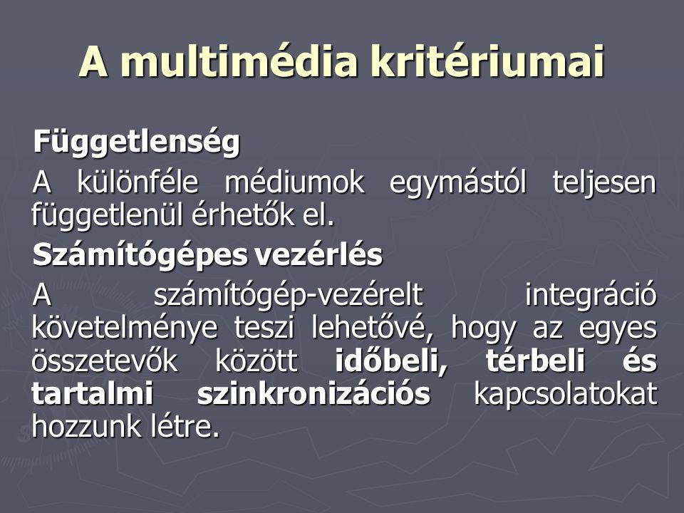 A multimédia kritériumai Függetlenség A különféle médiumok egymástól teljesen függetlenül érhetők el. Számítógépes vezérlés A számítógép-vezérelt inte