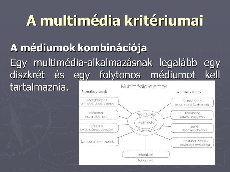 A multimédia kritériumai A médiumok kombinációja Egy multimédia-alkalmazásnak legalább egy diszkrét és egy folytonos médiumot kell tartalmaznia.
