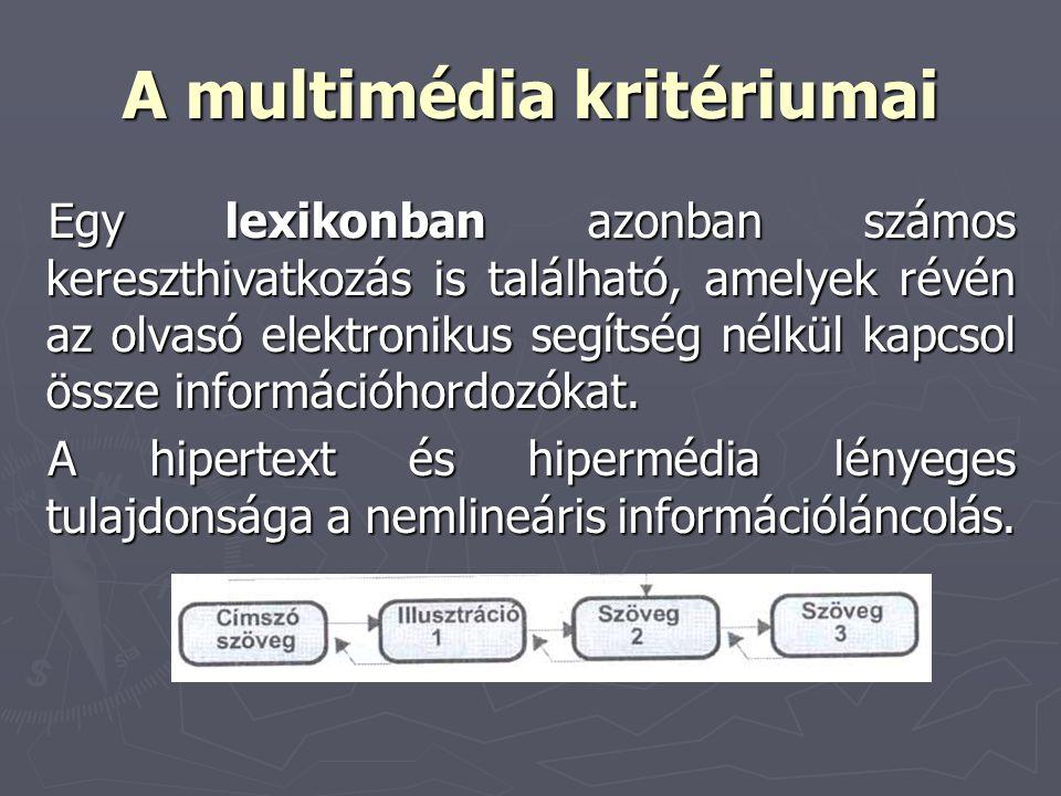 A multimédia kritériumai Egy lexikonban azonban számos kereszthivatkozás is található, amelyek révén az olvasó elektronikus segítség nélkül kapcsol ös