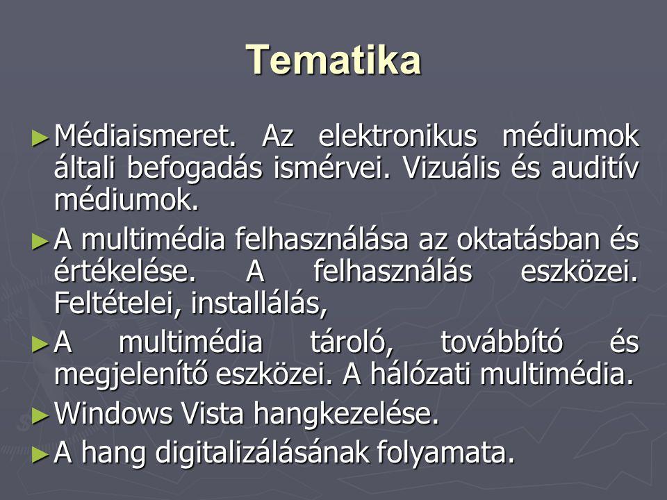 Tematika ► Médiaismeret. Az elektronikus médiumok általi befogadás ismérvei. Vizuális és auditív médiumok. ► A multimédia felhasználása az oktatásban