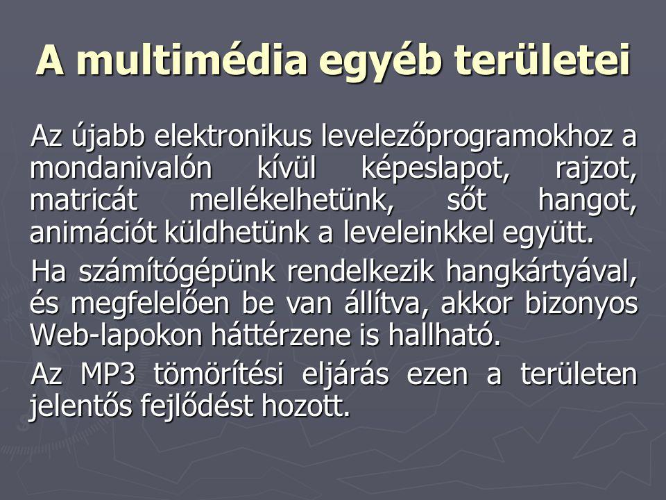 A multimédia egyéb területei Az újabb elektronikus levelezőprogramokhoz a mondanivalón kívül képeslapot, rajzot, matricát mellékelhetünk, sőt hangot,