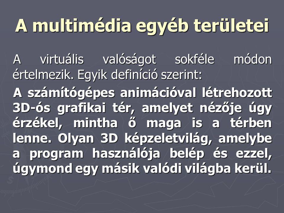 A multimédia egyéb területei A virtuális valóságot sokféle módon értelmezik. Egyik definíció szerint: A számítógépes animációval létrehozott 3D-ós gra