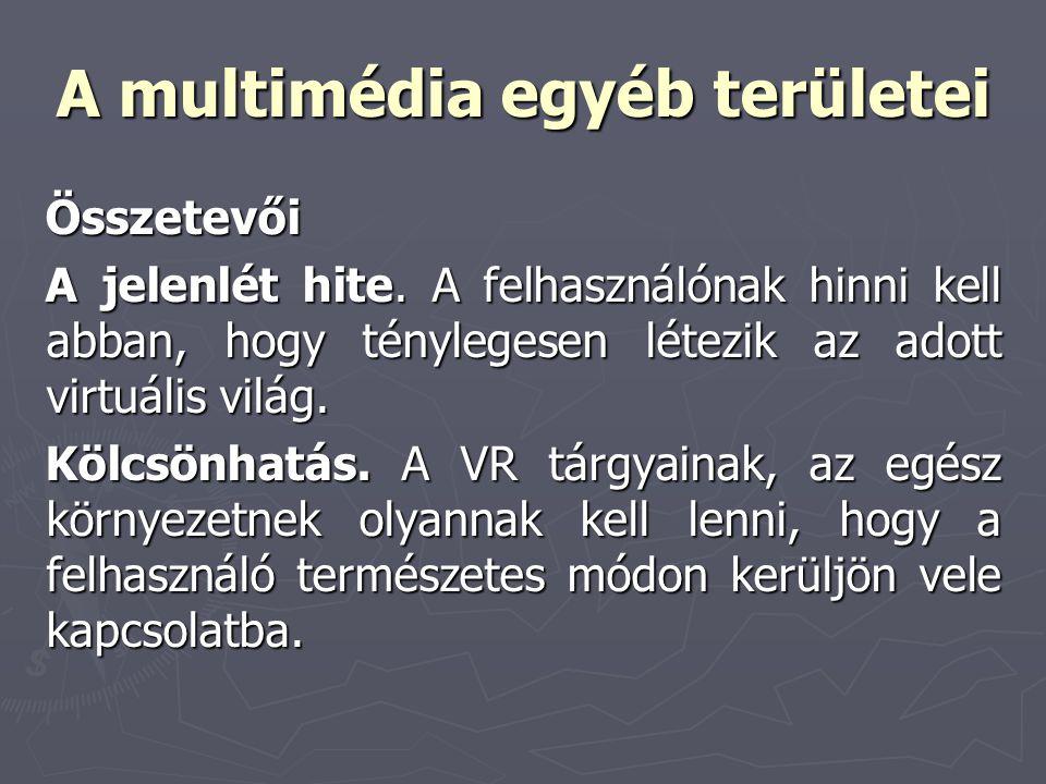 A multimédia egyéb területei Összetevői A jelenlét hite. A felhasználónak hinni kell abban, hogy ténylegesen létezik az adott virtuális világ. Kölcsön