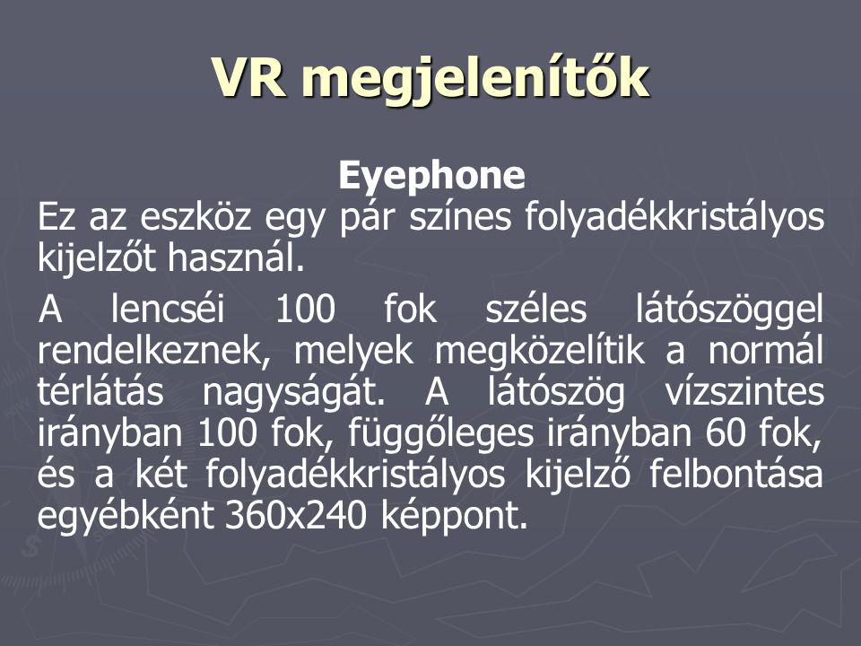 VR megjelenítők Eyephone Ez az eszköz egy pár színes folyadékkristályos kijelzőt használ. A lencséi 100 fok széles látószöggel rendelkeznek, melyek me