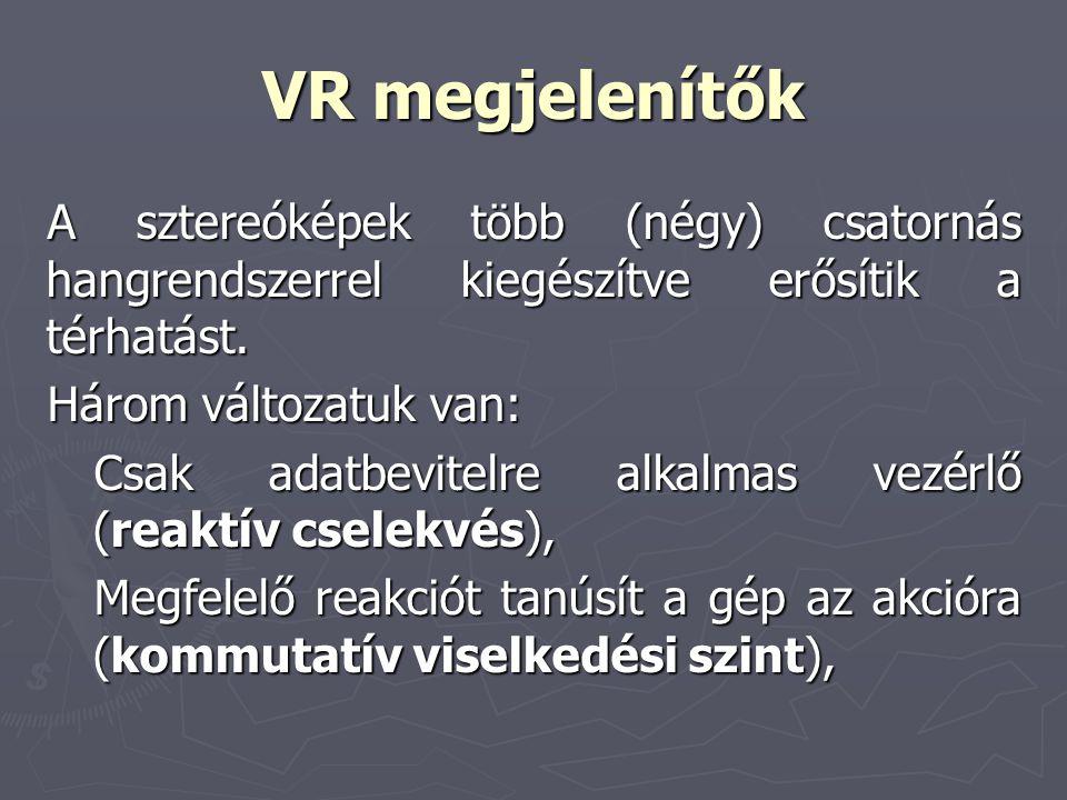 VR megjelenítők A sztereóképek több (négy) csatornás hangrendszerrel kiegészítve erősítik a térhatást. Három változatuk van: Csak adatbevitelre alkalm