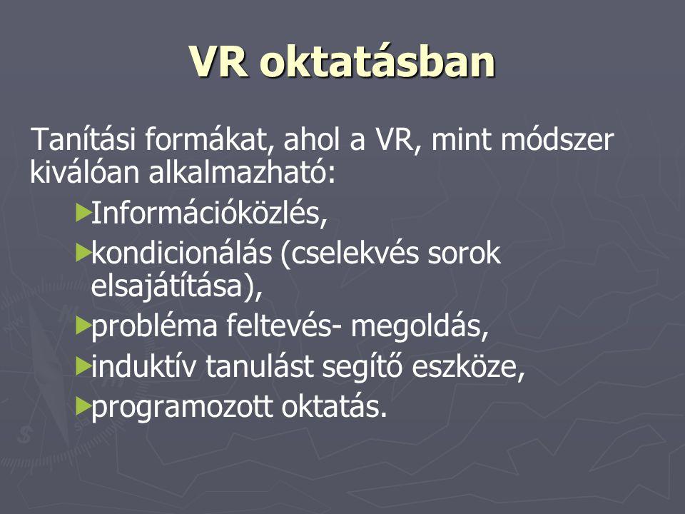 VR oktatásban Tanítási formákat, ahol a VR, mint módszer kiválóan alkalmazható:   Információközlés,   kondicionálás (cselekvés sorok elsajátítása)