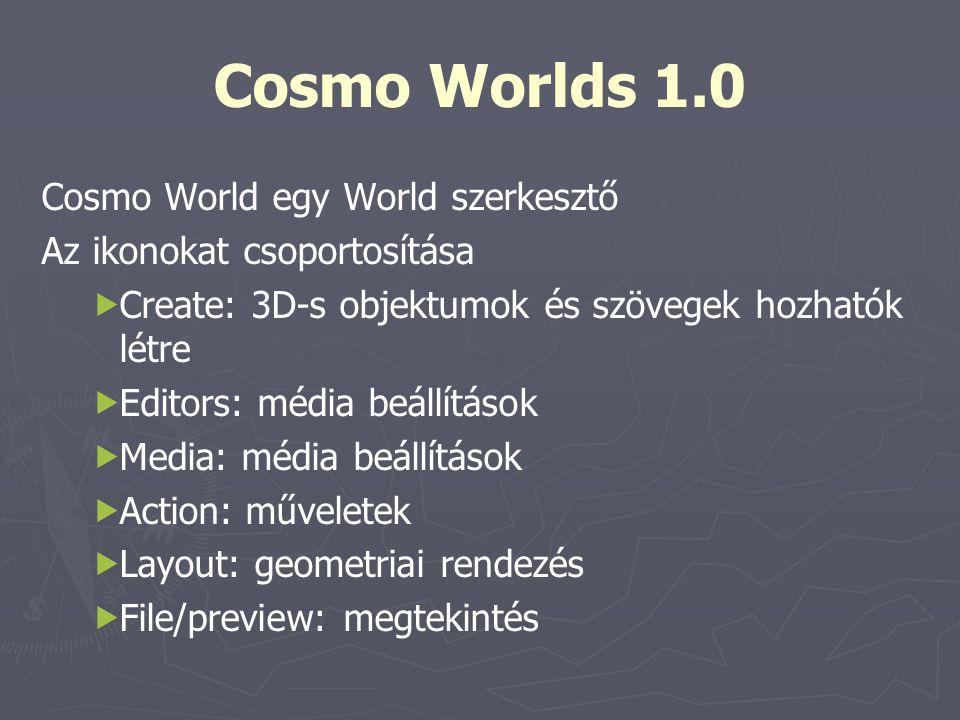 Cosmo World egy World szerkesztő Az ikonokat csoportosítása   Create: 3D-s objektumok és szövegek hozhatók létre   Editors: média beállítások  