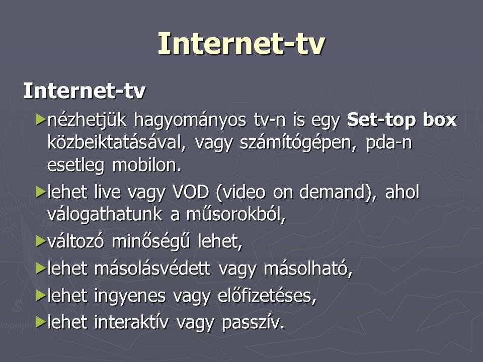 Internet-tv Internet-tv  nézhetjük hagyományos tv-n is egy Set-top box közbeiktatásával, vagy számítógépen, pda-n esetleg mobilon.  lehet live vagy