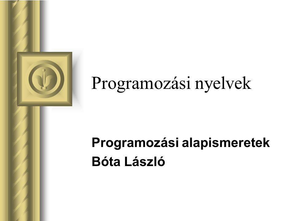 Választható nyelvek Az alábbi nyelvek bármely inplementációja (megvalósítása) –C# (Microsoft) –Pascal, implementációi: FreePascal (www.freepascal.org) Borland Pascal Turbo Pascal...