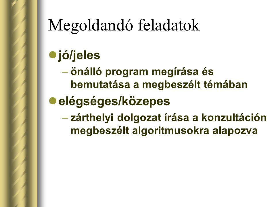Megoldandó feladatok jó/jeles –önálló program megírása és bemutatása a megbeszélt témában elégséges/közepes –zárthelyi dolgozat írása a konzultáción m