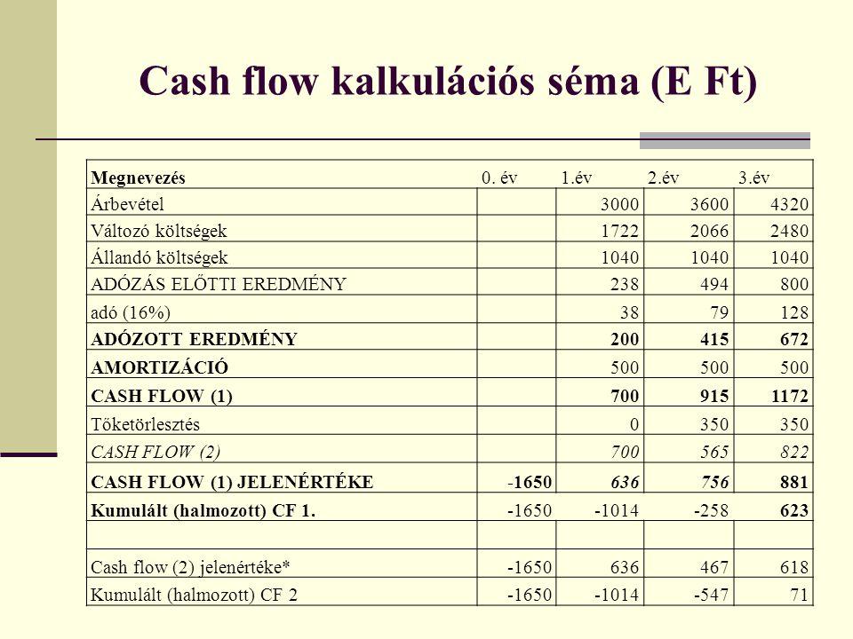 Cash flow kalkulációs séma (E Ft) Megnevezés0.