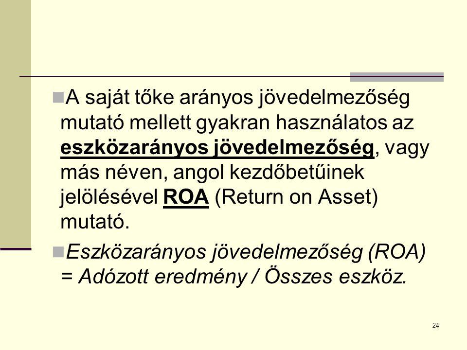 24 A saját tőke arányos jövedelmezőség mutató mellett gyakran használatos az eszközarányos jövedelmezőség, vagy más néven, angol kezdőbetűinek jelölésével ROA (Return on Asset) mutató.