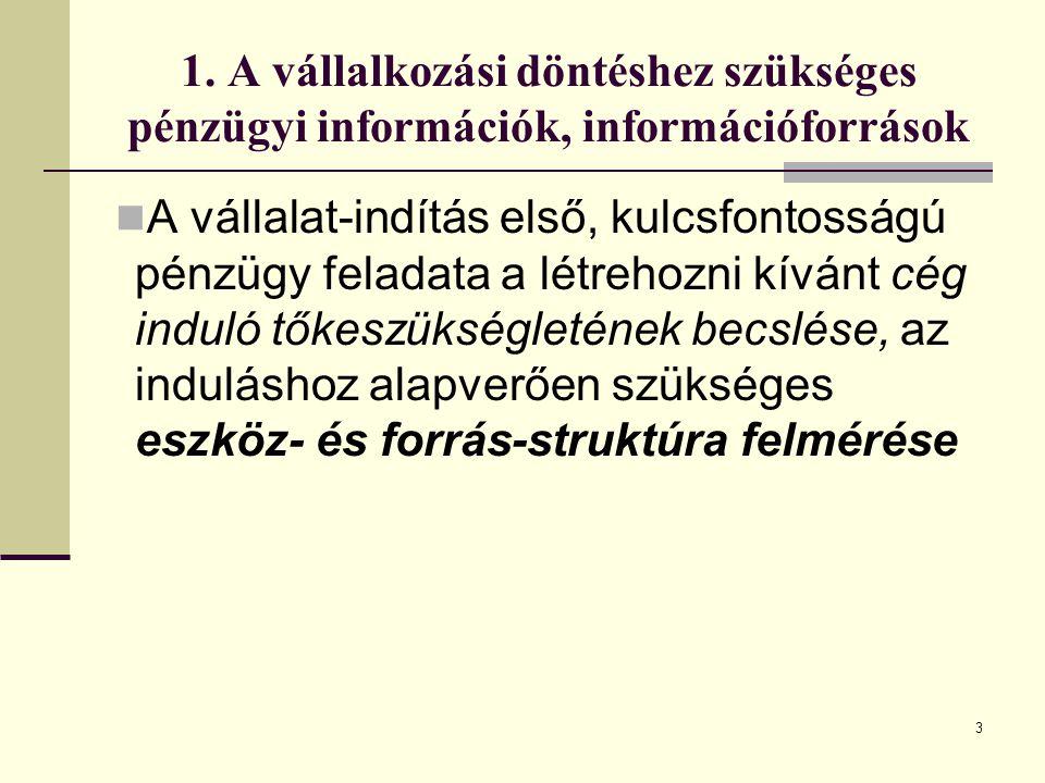 3 1. A vállalkozási döntéshez szükséges pénzügyi információk, információforrások A vállalat-indítás első, kulcsfontosságú pénzügy feladata a létrehozn