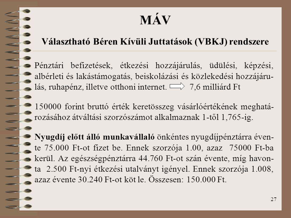 27 MÁV Választható Béren Kívüli Juttatások (VBKJ) rendszere Pénztári befizetések, étkezési hozzájárulás, üdülési, képzési, albérleti és lakástámogatás