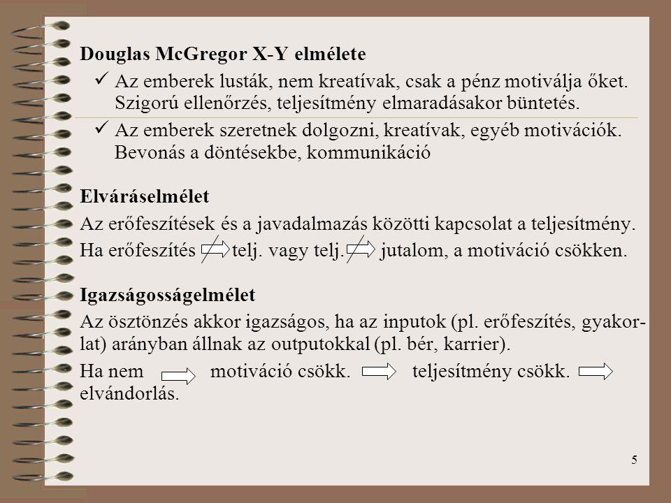5 Douglas McGregor X-Y elmélete Az emberek lusták, nem kreatívak, csak a pénz motiválja őket. Szigorú ellenőrzés, teljesítmény elmaradásakor büntetés.