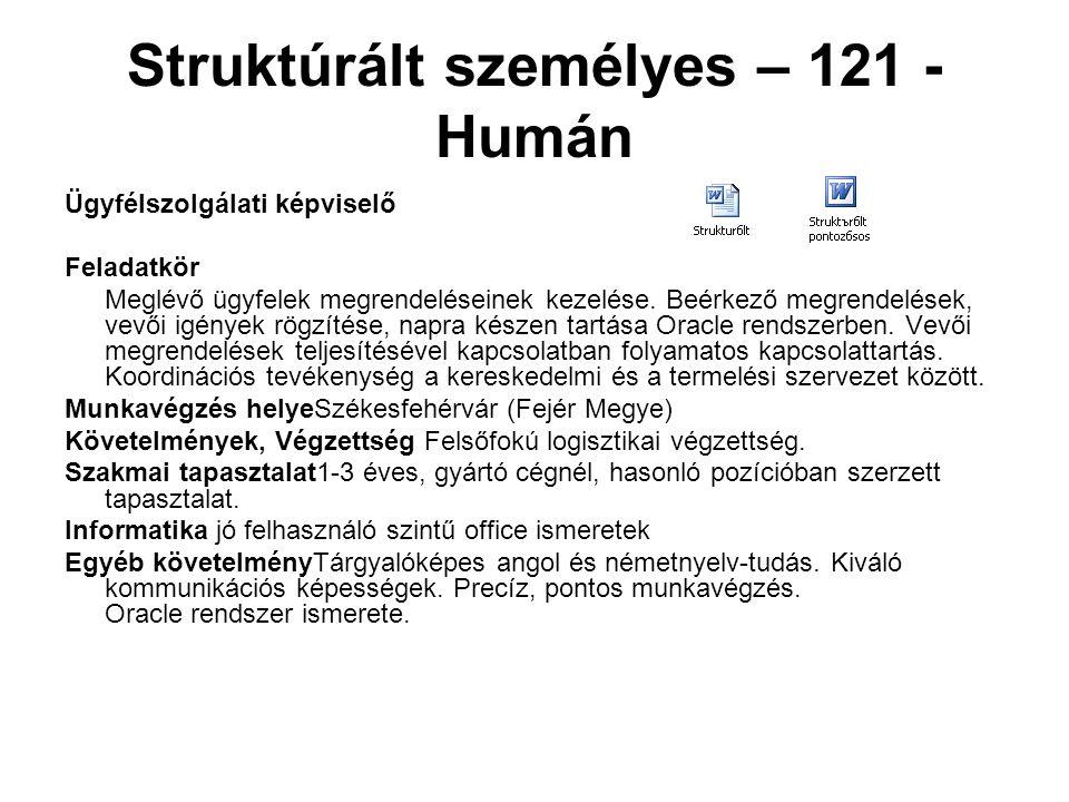 Struktúrált személyes – 121 - Humán Ügyfélszolgálati képviselő Feladatkör Meglévő ügyfelek megrendeléseinek kezelése. Beérkező megrendelések, vevői ig