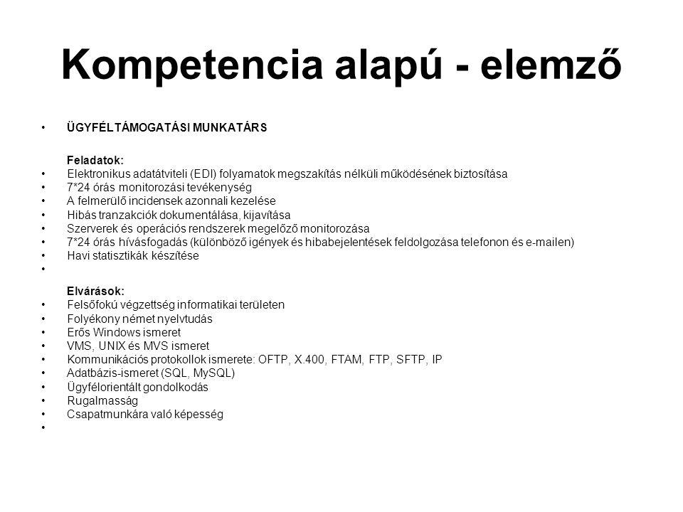 Kompetencia alapú - elemző ÜGYFÉLTÁMOGATÁSI MUNKATÁRS Feladatok: Elektronikus adatátviteli (EDI) folyamatok megszakítás nélküli működésének biztosítás