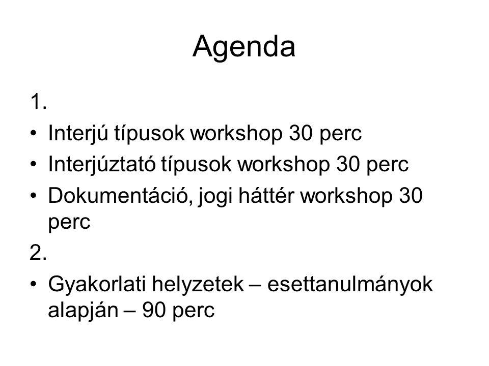 Agenda 1. Interjú típusok workshop 30 perc Interjúztató típusok workshop 30 perc Dokumentáció, jogi háttér workshop 30 perc 2. Gyakorlati helyzetek –