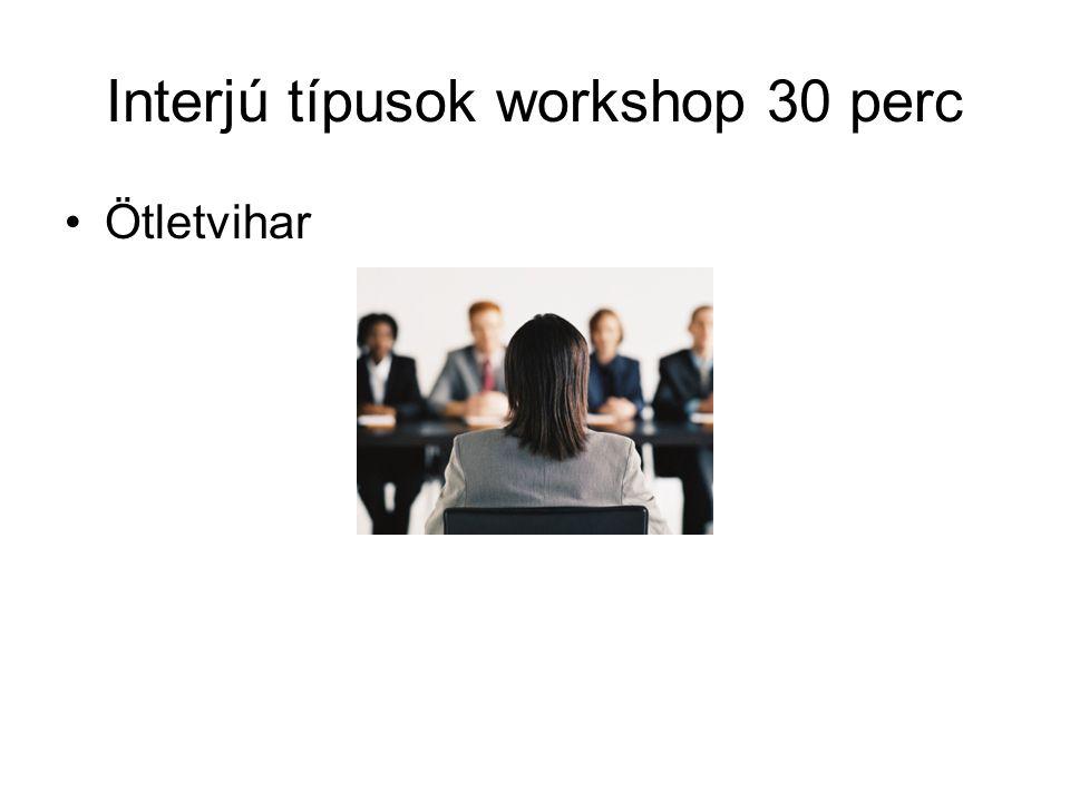 Interjú típusok workshop 30 perc Ötletvihar