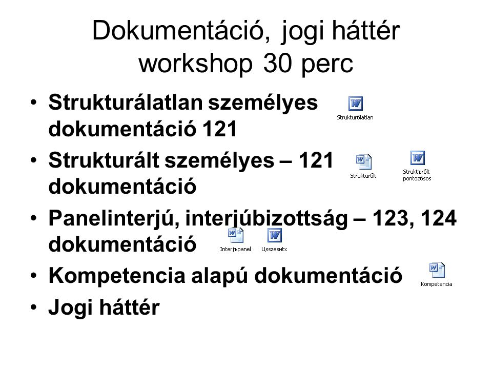 Dokumentáció, jogi háttér workshop 30 perc Strukturálatlan személyes dokumentáció 121 Strukturált személyes – 121 dokumentáció Panelinterjú, interjúbi