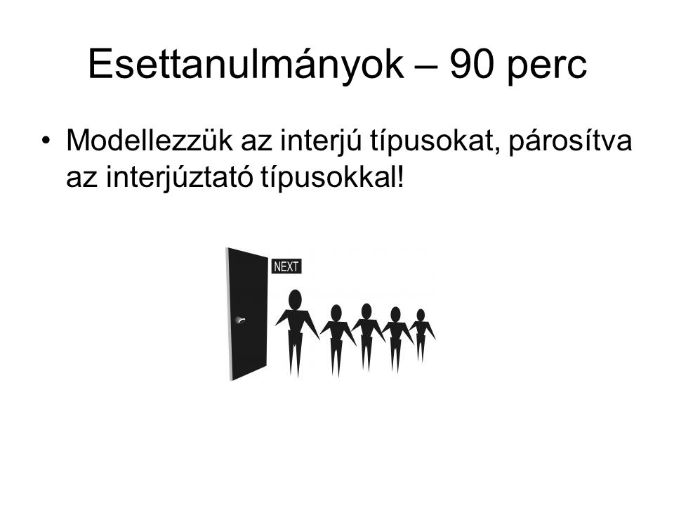 Esettanulmányok – 90 perc Modellezzük az interjú típusokat, párosítva az interjúztató típusokkal!
