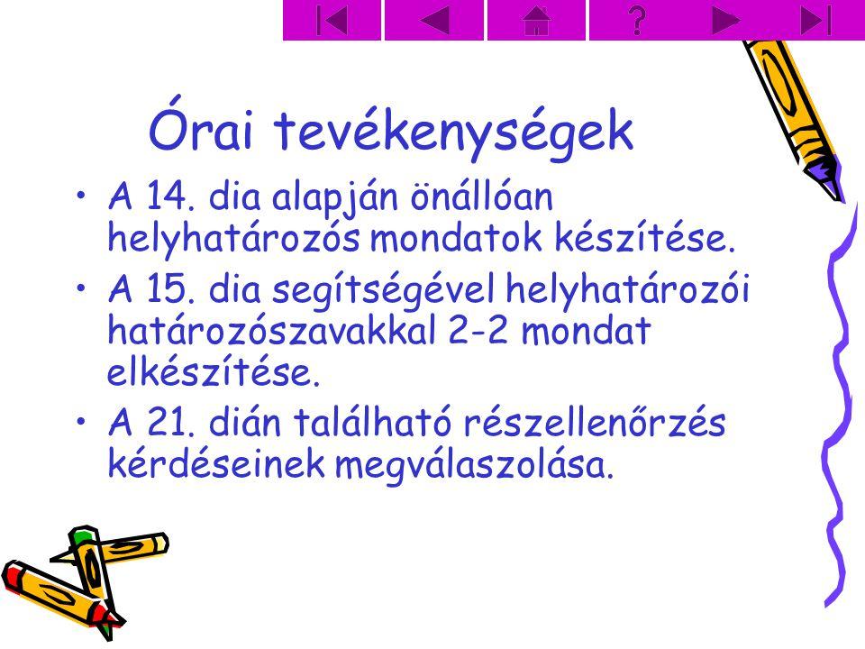 Órai tevékenységek A 14. dia alapján önállóan helyhatározós mondatok készítése. A 15. dia segítségével helyhatározói határozószavakkal 2-2 mondat elké