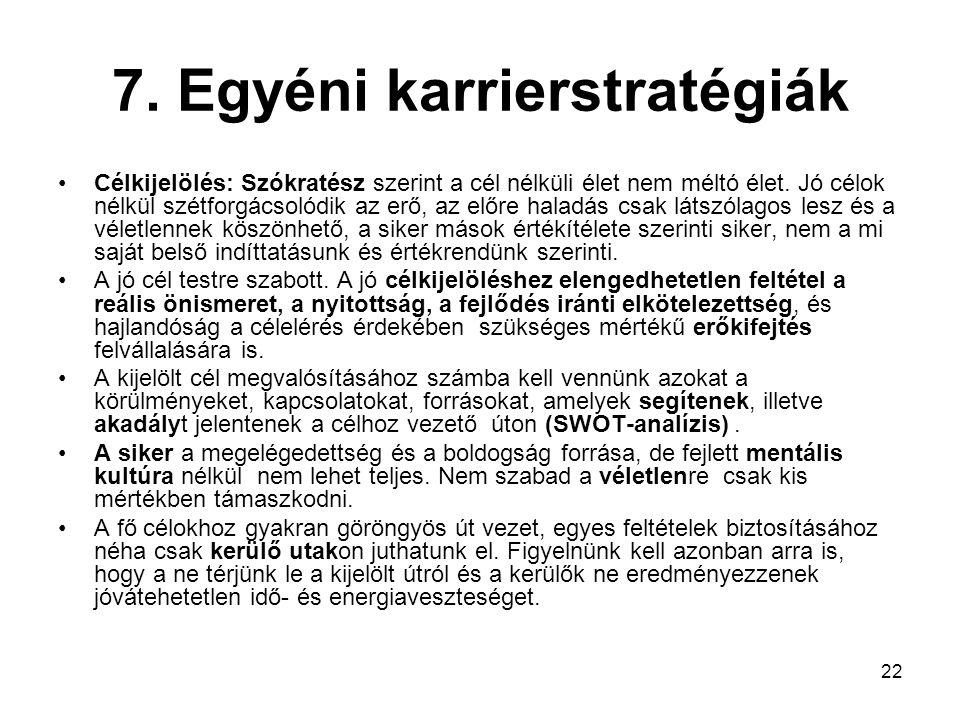 22 7.Egyéni karrierstratégiák Célkijelölés: Szókratész szerint a cél nélküli élet nem méltó élet.