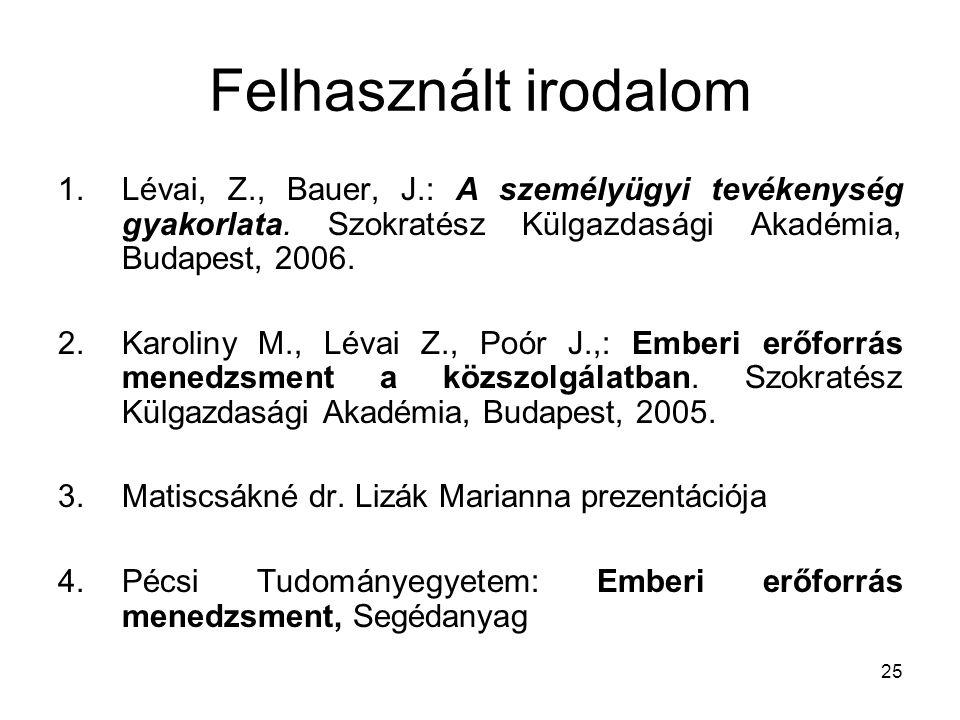 25 Felhasznált irodalom 1.Lévai, Z., Bauer, J.: A személyügyi tevékenység gyakorlata. Szokratész Külgazdasági Akadémia, Budapest, 2006. 2.Karoliny M.,
