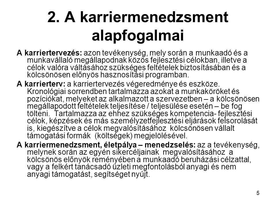 5 2. A karriermenedzsment alapfogalmai A karriertervezés: azon tevékenység, mely során a munkaadó és a munkavállaló megállapodnak közös fejlesztési cé