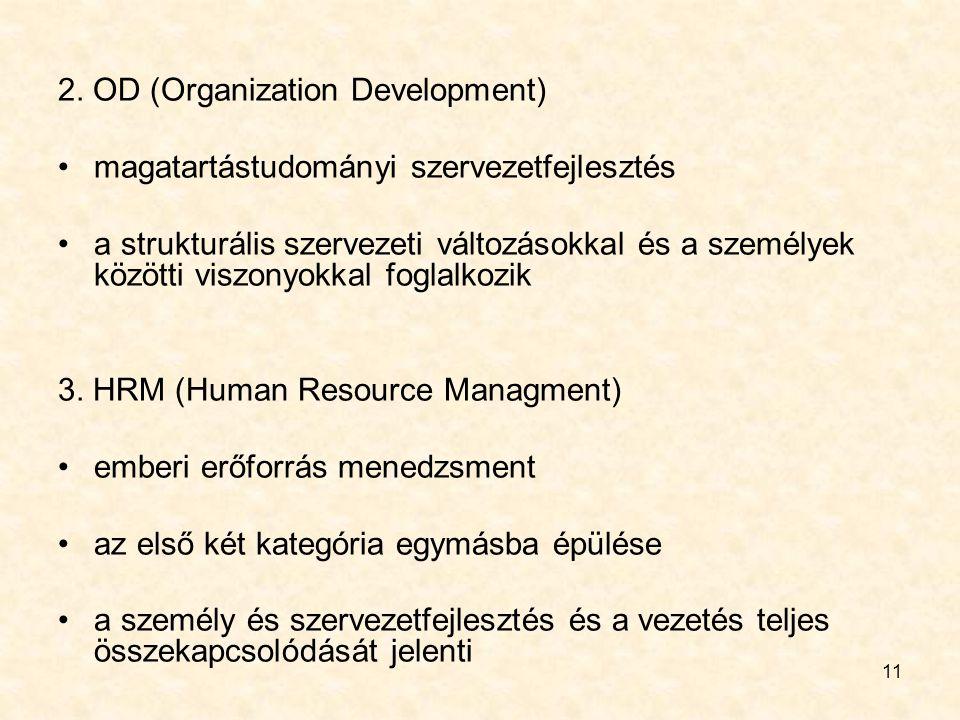 11 2. OD (Organization Development) magatartástudományi szervezetfejlesztés a strukturális szervezeti változásokkal és a személyek közötti viszonyokka